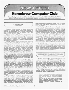 Homebrew Computer Club Newsletter