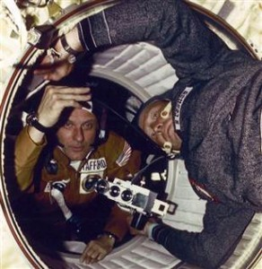 Apollo Soyuz Crews Shake Hands