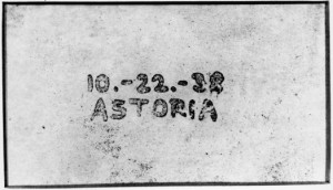 First Xerographic Copy, 10-22-38 ASTORIA