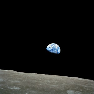 The view of Earth rising over the lunar surface from Apollo 8